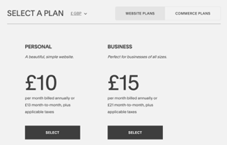 Squarespace screnshot select a plan