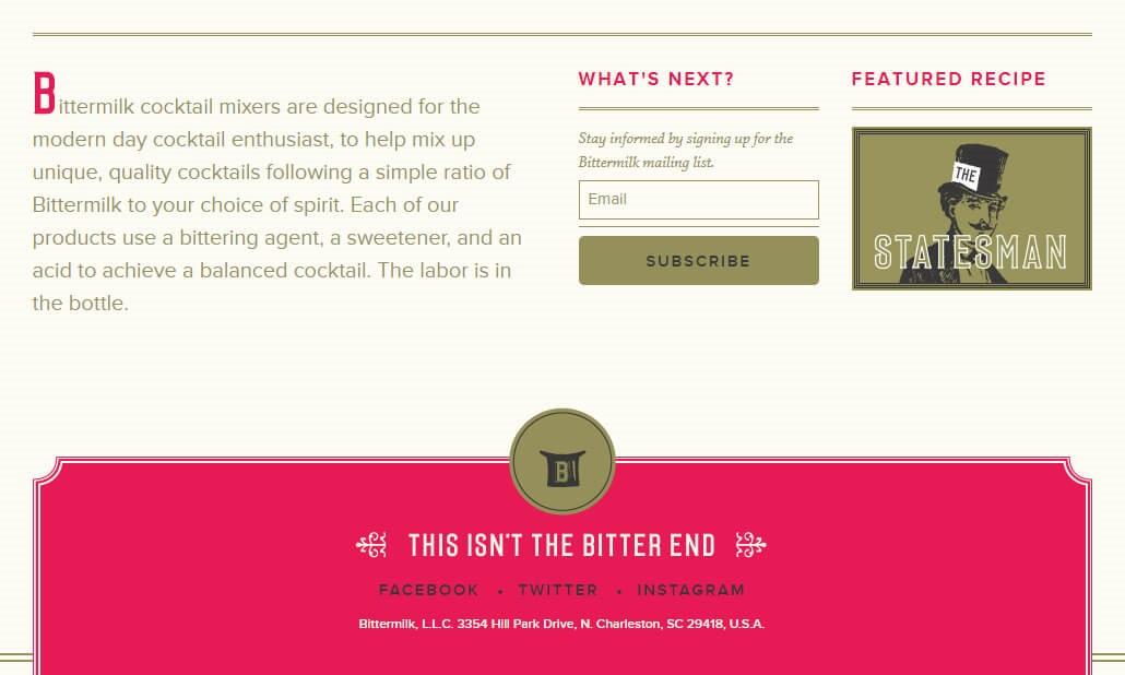 Screenshot of Bittermilk website