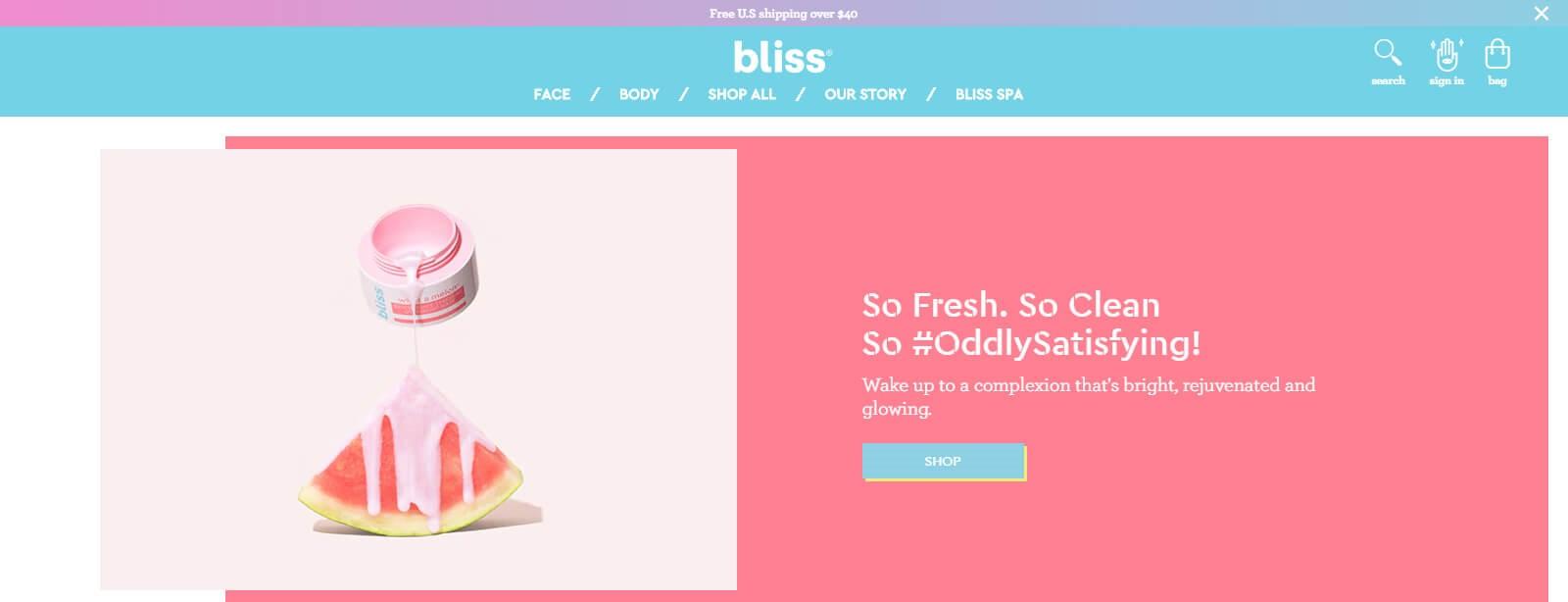 Screenshot of Bliss website