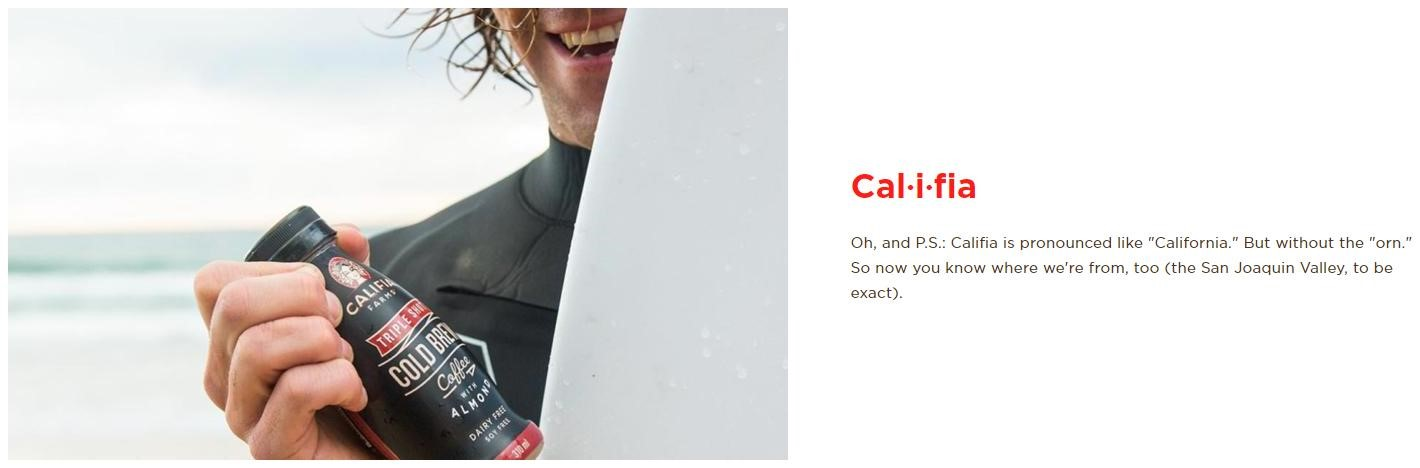 Screenshot of Califa Farms website