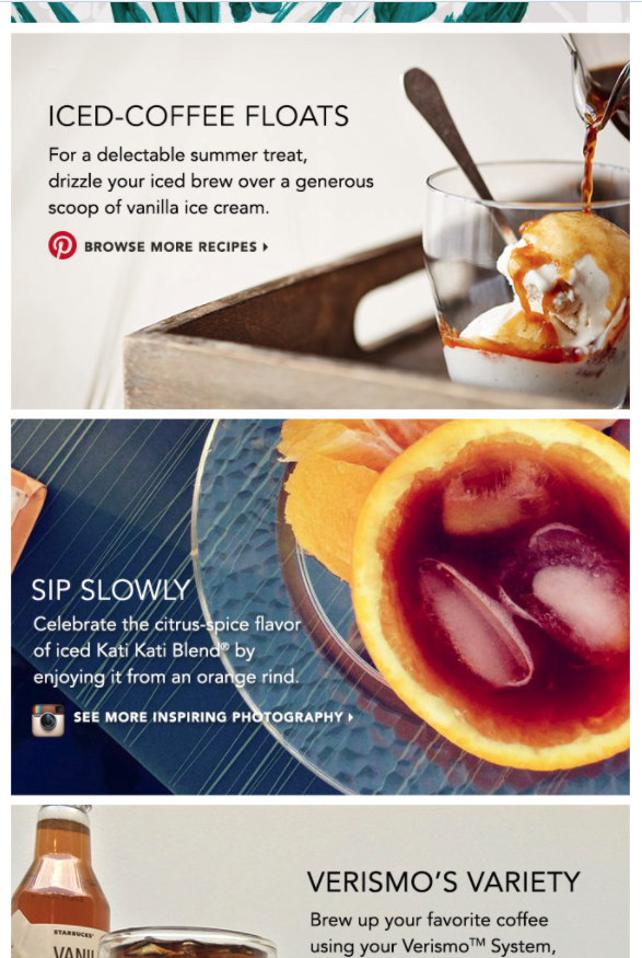 This Starbucks email clearly divides content with deliciously appealing photography