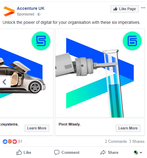 Example of a Facebook multi-product carousel ad