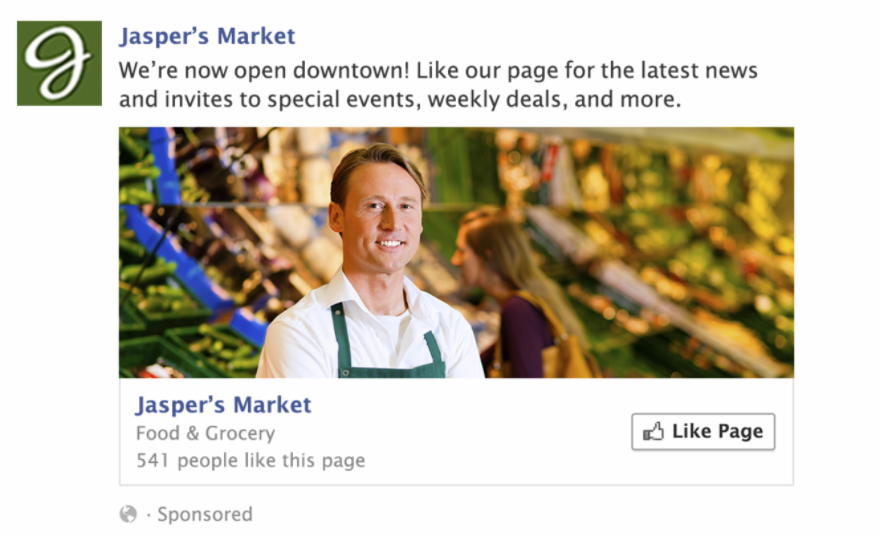 Example of a Facebook page like ad