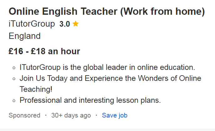Example of online teacher job posting on Indeed.co.uk
