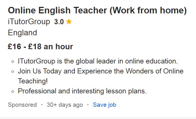 Example of online teacher job posting on Indeed.co.uk