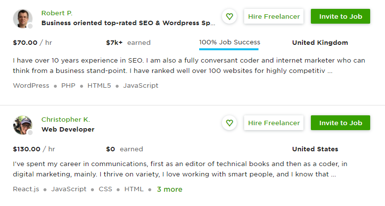 Example of Upwork freelance coder job listing