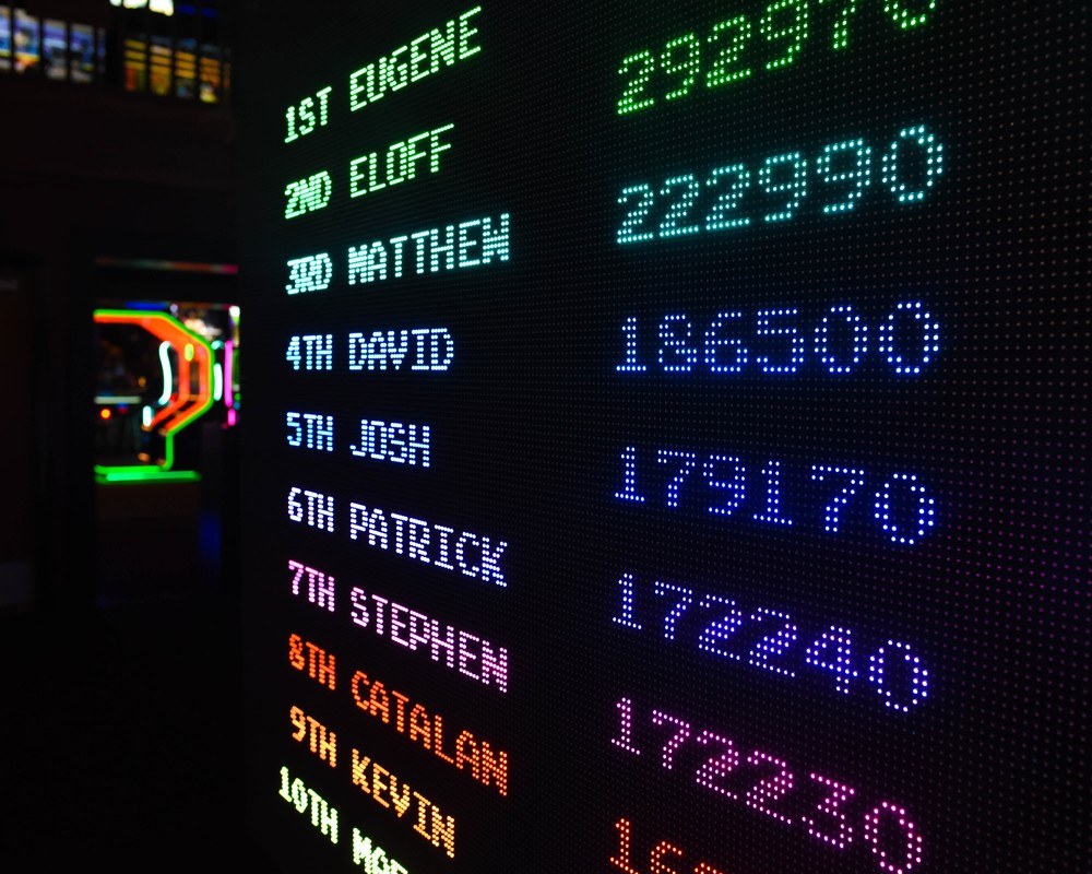 Retro arcade with scores