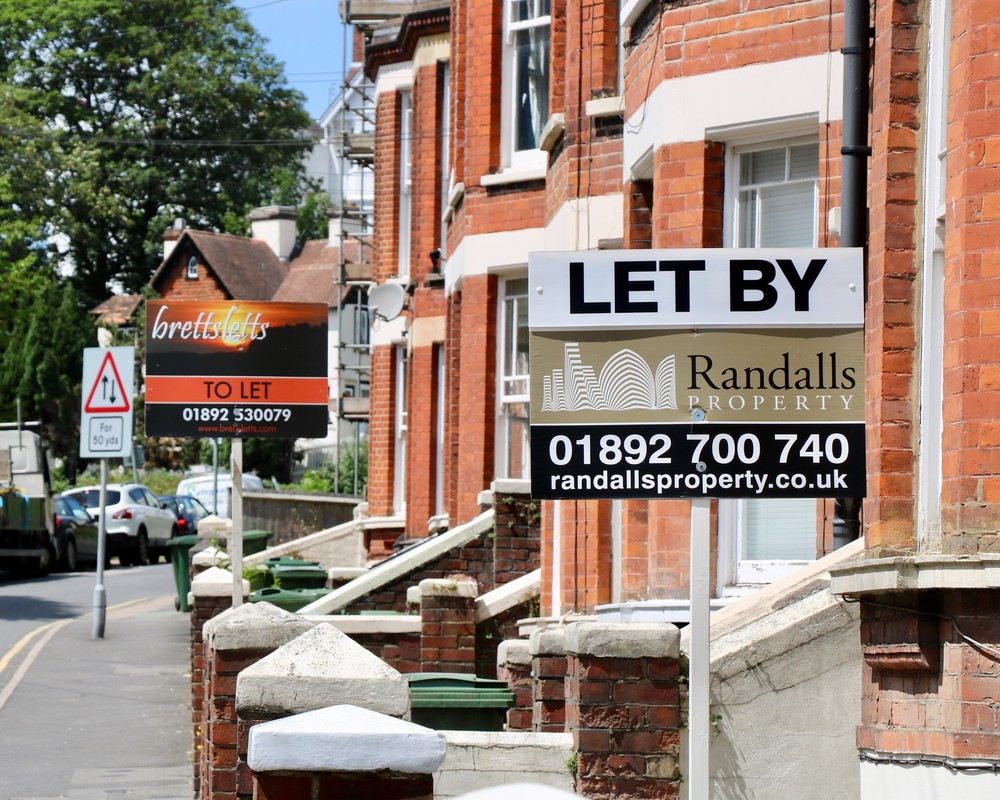 Street of houses for sale and rent