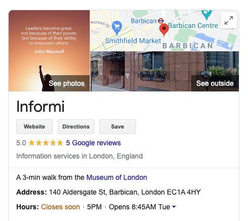 Informi Google My Business